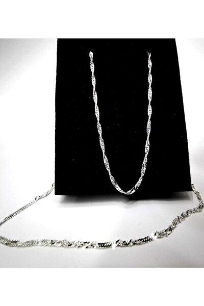 Kadın Silver Singapur 30 Mikron Gümüş Kolye Zincir
