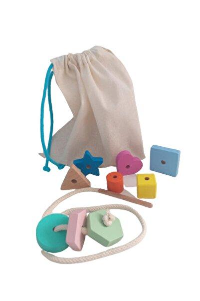 Montessori Giz Torbası Ve İp Geçir Geometrik Şekiller İkili Oyunu