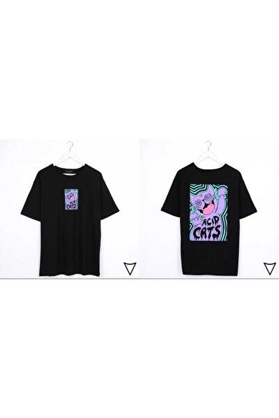 Unisex   Acid Cats Sırt Baskılı T-shirt