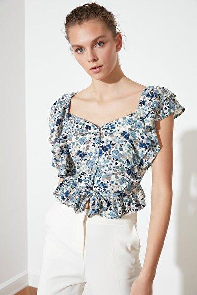Çok Renkli Volanlı Bluz TWOSS21BZ0874