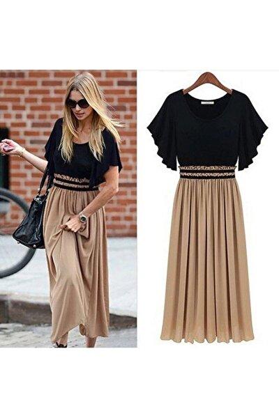 Kadın Kumaş Altı Şifon Beli Lastikli Elbise