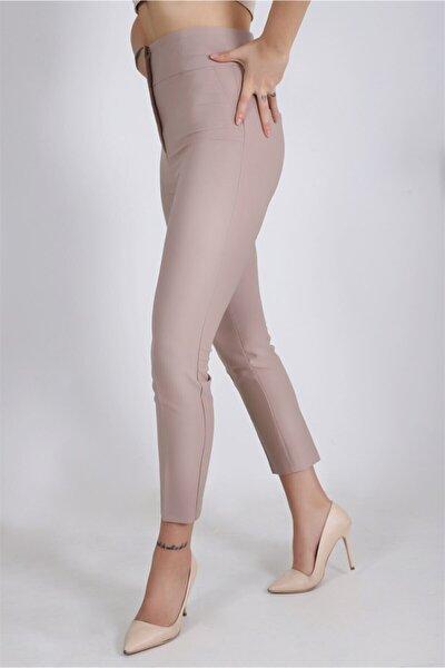 Kadın Gizli Fermuar Dar Paça Yüksek Bel Klasik Kumaş Taş Pantolon