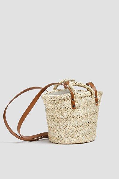 Kadın Bej Tutma Saplı Mini Sepet Çanta