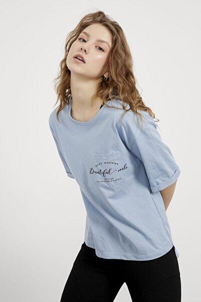Kadın Mavi Beatiful Baskılı Cep Detaylı T-shirt
