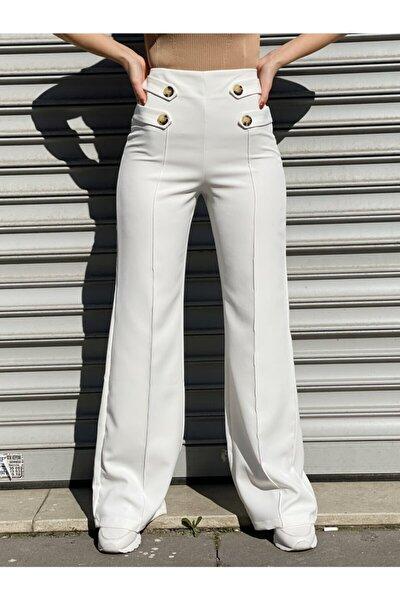 Kadın Beyaz Düğmeli Kumaş Pantolonu