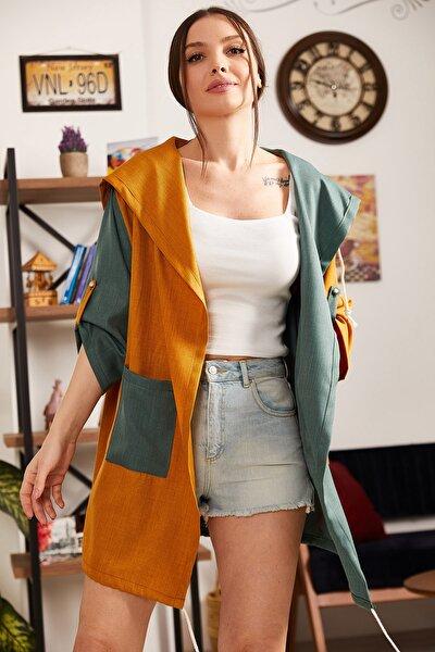 Kadın Hardal Bloklu Cepli Salaş Ceket ARM-21Y001024