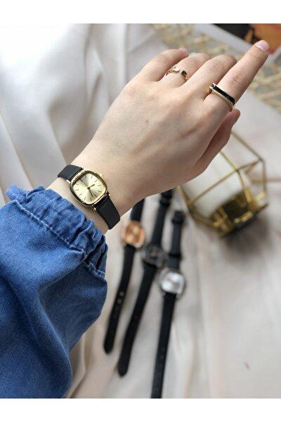 Retro Minimal Deri Kordon Kadın Kol Saati - Gold