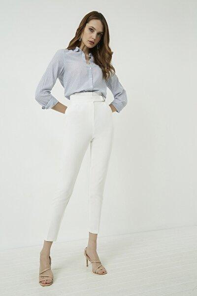 Kadın Ekru Halka Kemerli Yüksek Bel Pantolon