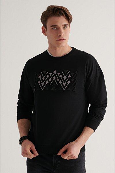 Erkek Siyah Bisiklet Yaka Reflektör Detaylı Oversized Sweatshirt A11y1047