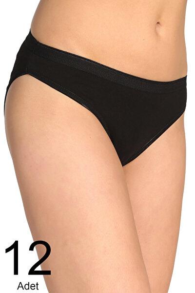 Kadın Siyah 12'li Paket  Bikini Külot ELF568T0635CCM12