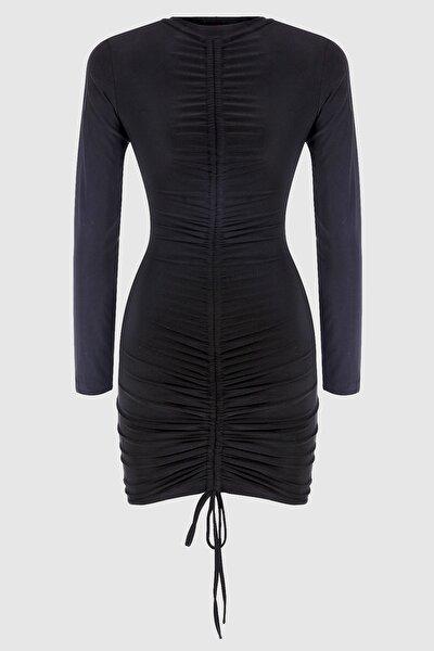 Önden Büzgülü Siyah Boyu Ayarlanabilir Elbise