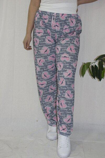 Kadın Kalp Baskılı Kurdeleli Alt Pijama