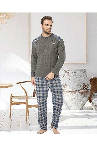 Erkek Ekose Desenli Antrasit Pijama Takımı