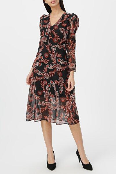 Kadın Kol Detaylı Midi Boy Desenli Şifon Elbise %100 Polyester