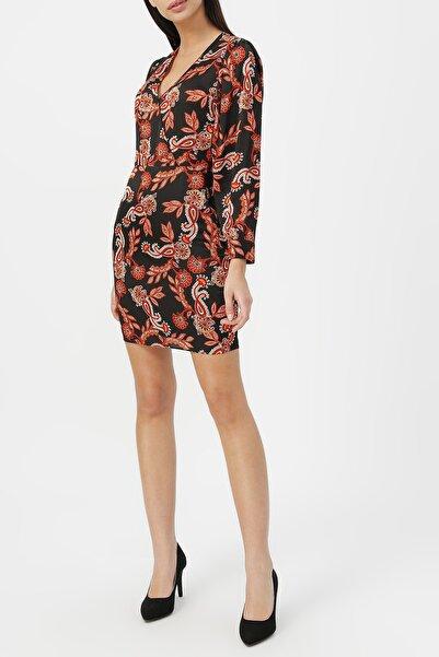 Kadın Kruvaze Yaka Desenli Elbise %60 Vıscon %40 Polyester