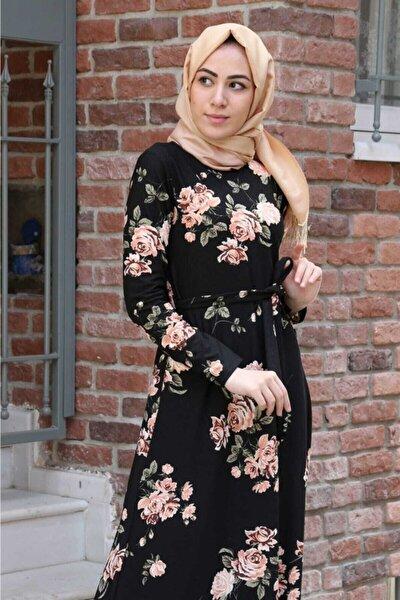 Kadın Siyah Çiçek Desenli Boydan Krep Elbise