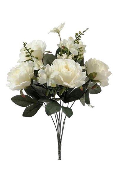 Beyaz Cipsolu 6 Kafalı Büyük Gül Demeti Yapay Çiçek