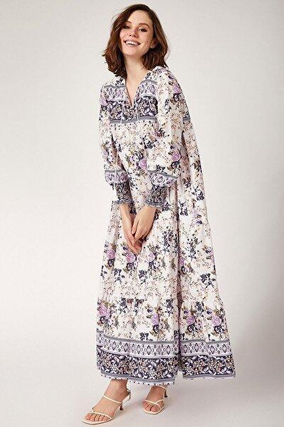 Kadın Mor Kol Büzgülü Robalı Çiçek Desenli Elbise