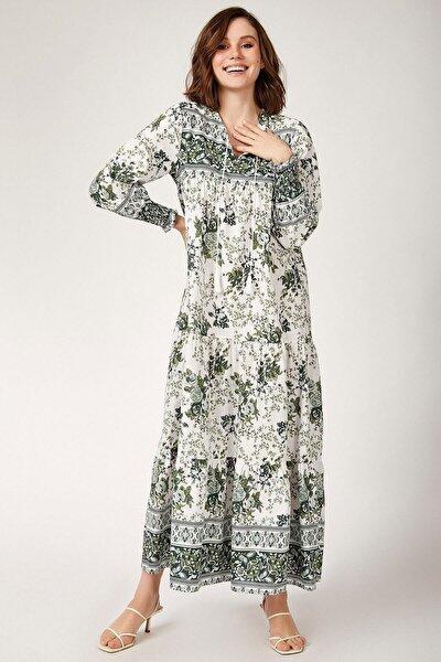 Kadın Yeşil Kol Büzgülü Robalı Çiçek Desenli Elbise