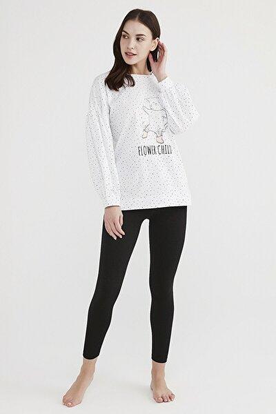 Kadın Beyaz Pijama Takımı