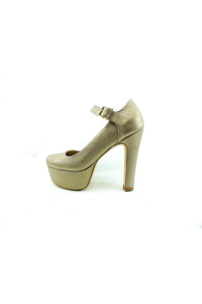 Kadın Metalik Çarıkçım Topuklu Platform Ayakkabı