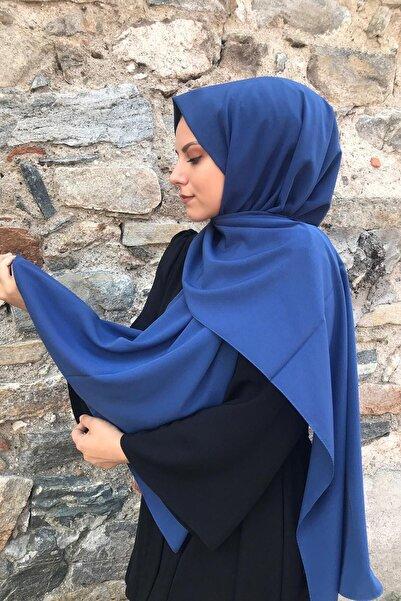 Kadın İndigo Mavi Medine İpeği Şal