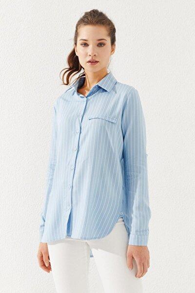 Kadın Çizgili Gömlek Mavi