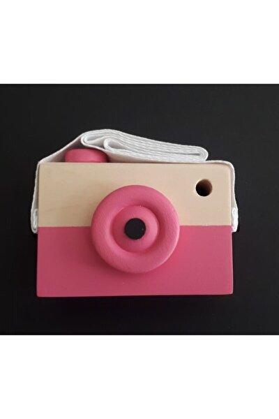 Ahşap Fotoğraf Makinesi - Oyuncak - Pembe