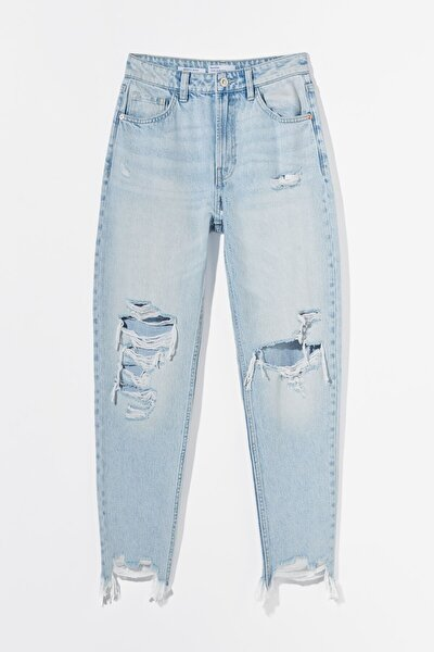Distressed Detaylı Mom Jean