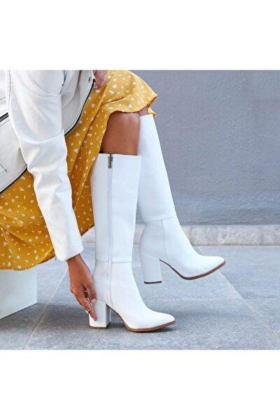 Kadın Beyaz Deri Topuklu Çizme