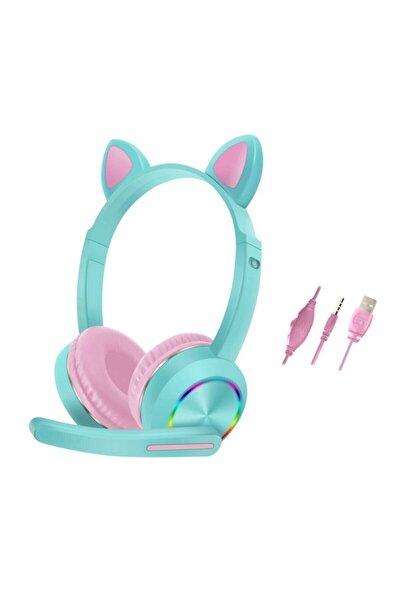 Akz-020 Kedi Rgb Işıklı Mikrofonlu 3.5 Mm Kablolu Oyuncu Kulaküstü Kulaklık Turkuaz Çocuk