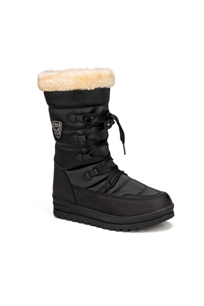 Kadın Siyah Termal Kürklü Kışlık  Karbotu Ayakkabı 995