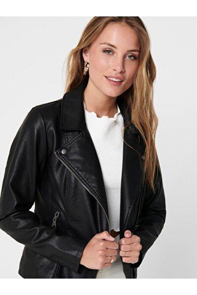 Melisa Faux Leather Biker Cc Otw Kadın Siyah Mont 15205625-02