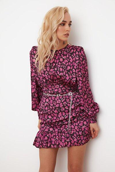 Çok Renkli Baskılı Saten  Elbise TPRSS21EL0083