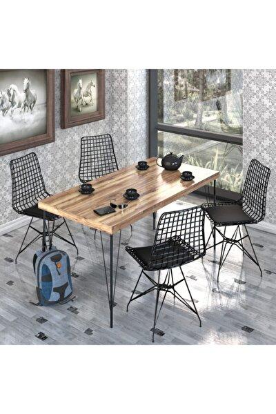 Yemek Masa Takımı Mutfak Masası Cafe Masası 4 Adet Tel Sandalye 1 Adet  Masa