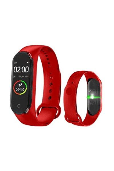 M4 Akıllı Bileklik, Smart, Adım Sayar, Nabız Ölçer, Android Ve Ios Bağlantılı Saat Kırmızı