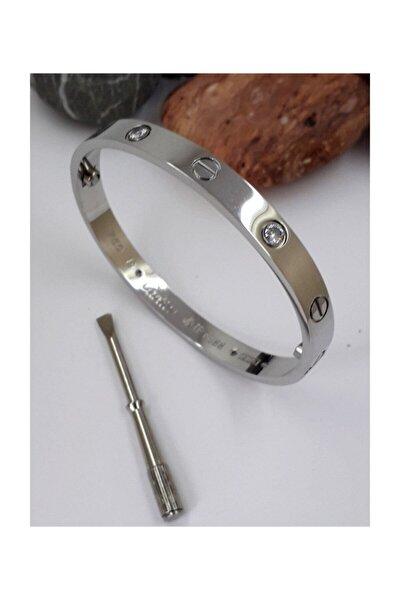 Kadın Gümüş Renk Yeni Trend Paslanmaz Çelik Taşlı Cartier Kelepçe Bilezik