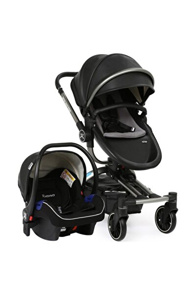 Spin 360 Derece Dönebilen Bebek Arabası Siyahgri Kasa