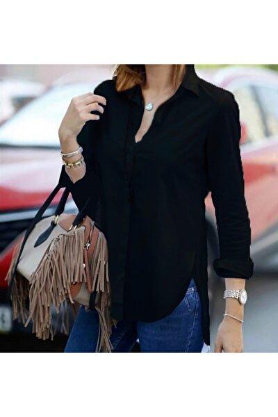 Kadın Siyah Dar Kalıplı Gömlek