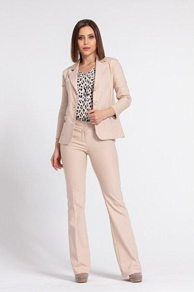Kadın Bej Yakalı Cep Detaylı Blazer Ceket