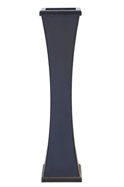 Siyah İnce Belli Ahşap Vazo 60 cm