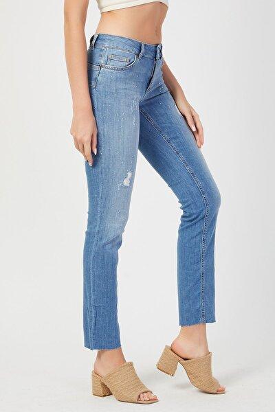 Kadın Mavi Taşlı Likralı Yüksek Bel Kot Pantolon