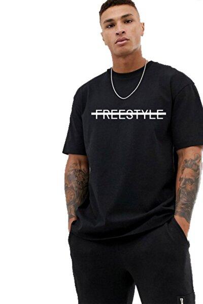 Erkek Siyah Oversize Baskılı T-shirt