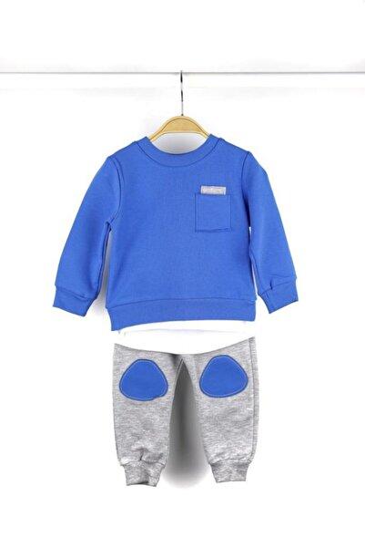 Erkek Çocuk Mavi Düz Renkli Mevsimlik Eşofman Takım