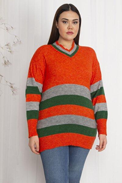 Kadın Renkli Triko Kazak 65N22242