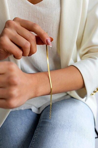 Italyan Bileklik Kadın Yassı Model Altın Kaplama
