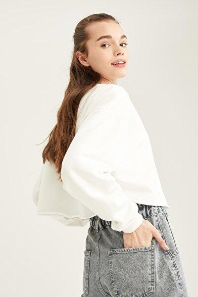 Oversize Fit Kesik Detaylı Crop Sweatshirt