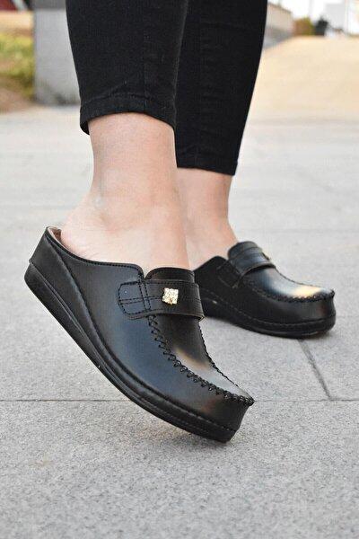 Kadın Siyah Dolgu Topuk Terlik