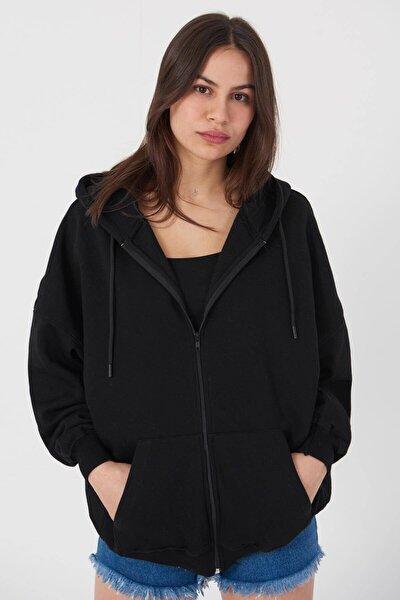 Kadın Siyah Kapüşonlu Uzun Hırka H0725 - W6 - W7 ADX-0000020316