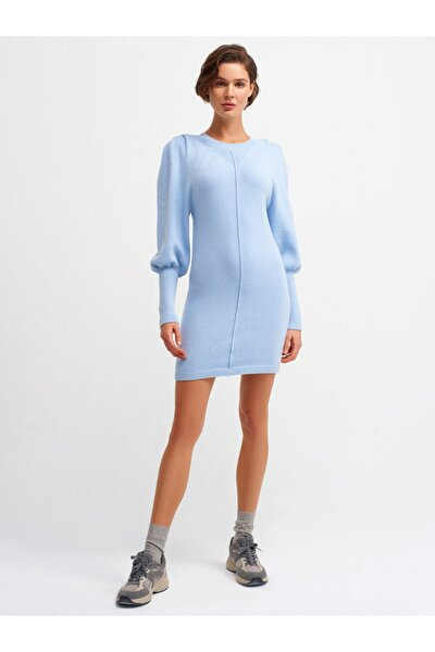 Kadın Mavi Bisiklet Yaka Omuzu Pileli Elbise 2940